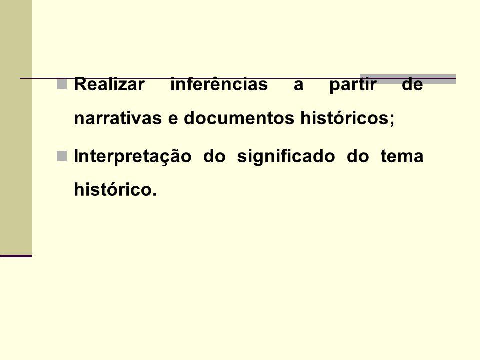 Realizar inferências a partir de narrativas e documentos históricos; Interpretação do significado do tema histórico.