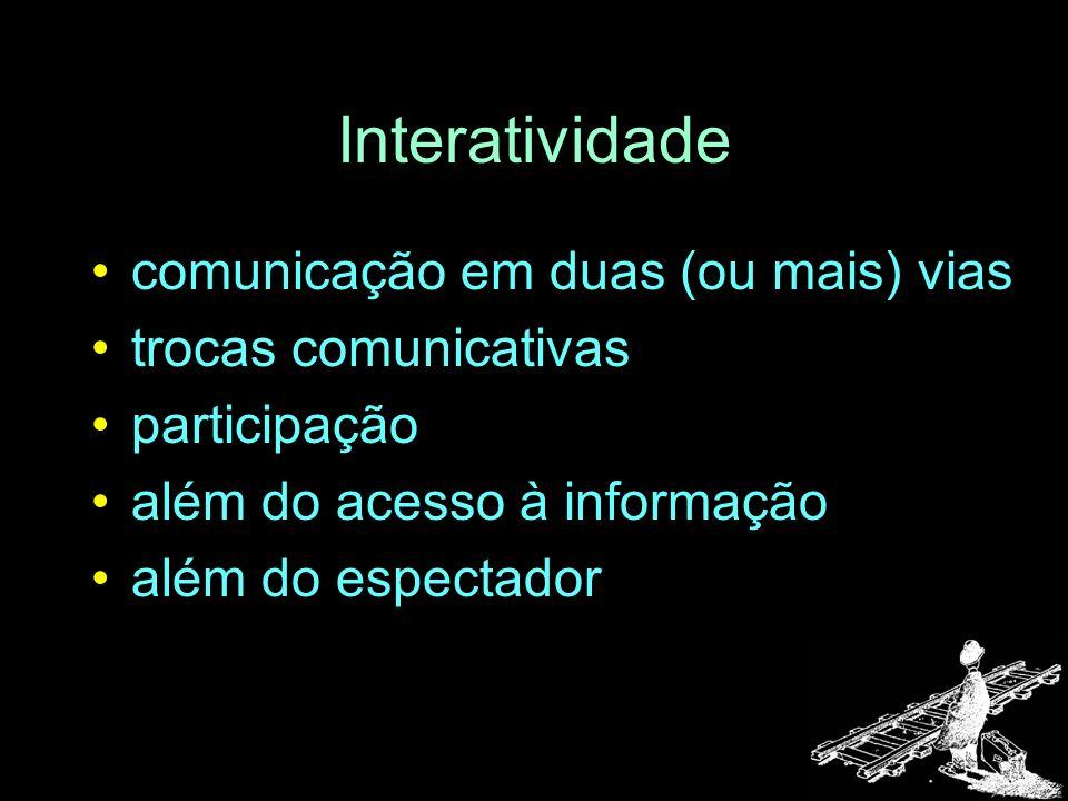 Interatividade comunicação em duas (ou mais) vias trocas comunicativas participação além do acesso à informação além do espectador