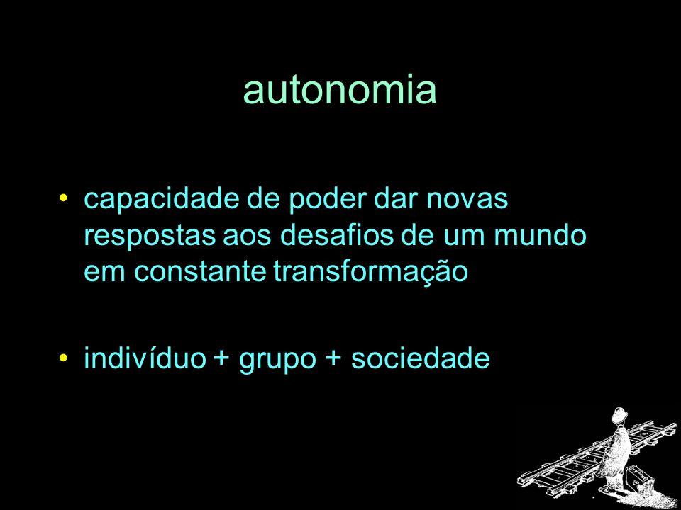 autonomia capacidade de poder dar novas respostas aos desafios de um mundo em constante transformação indivíduo + grupo + sociedade