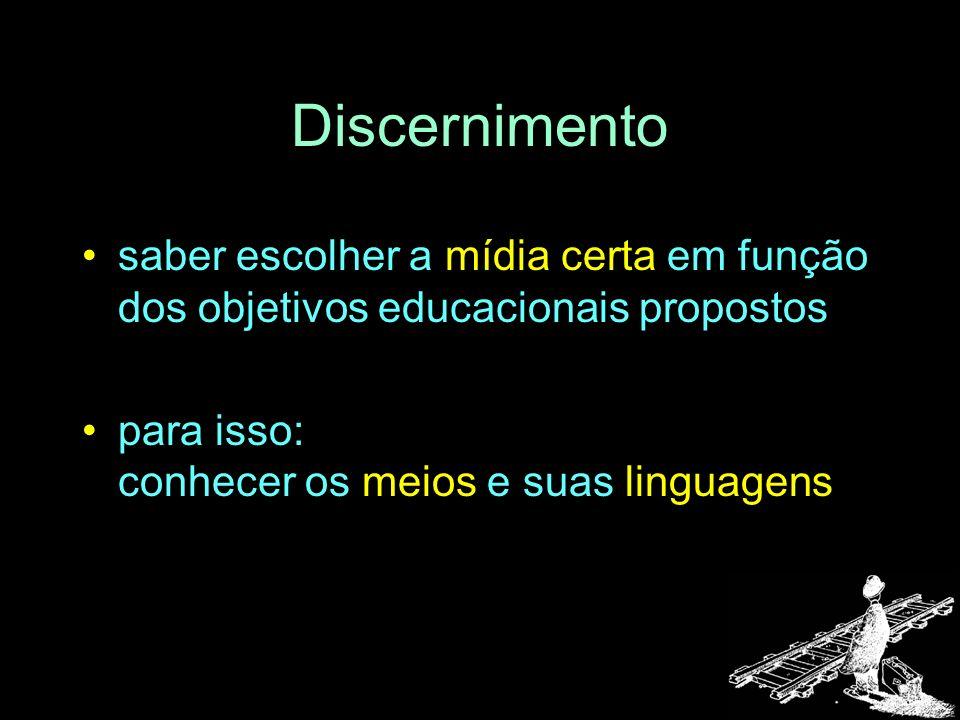 Discernimento saber escolher a mídia certa em função dos objetivos educacionais propostos para isso: conhecer os meios e suas linguagens