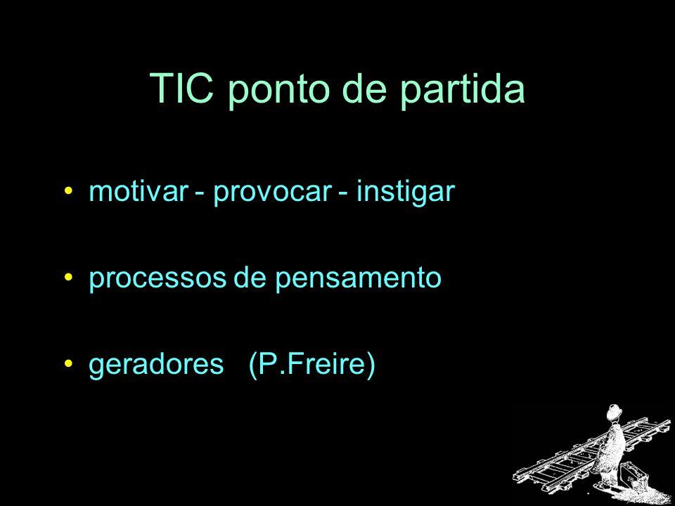 TIC ponto de partida motivar - provocar - instigar processos de pensamento geradores (P.Freire)