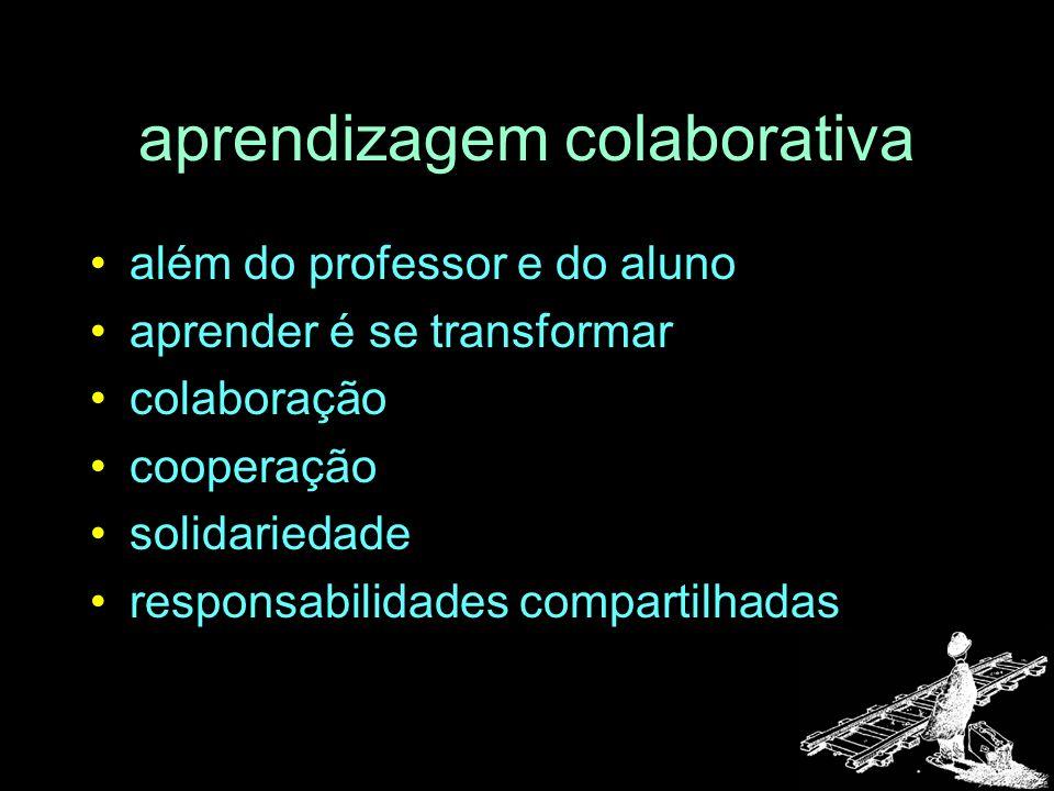 aprendizagem colaborativa além do professor e do aluno aprender é se transformar colaboração cooperação solidariedade responsabilidades compartilhadas