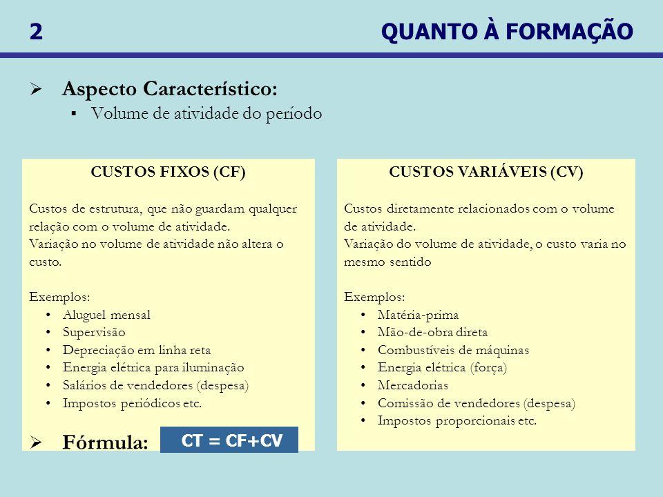 2 QUANTO À FORMAÇÃO Aspecto Característico: Volume de atividade do período CUSTOS FIXOS (CF) Custos de estrutura, que não guardam qualquer relação com o volume de atividade.