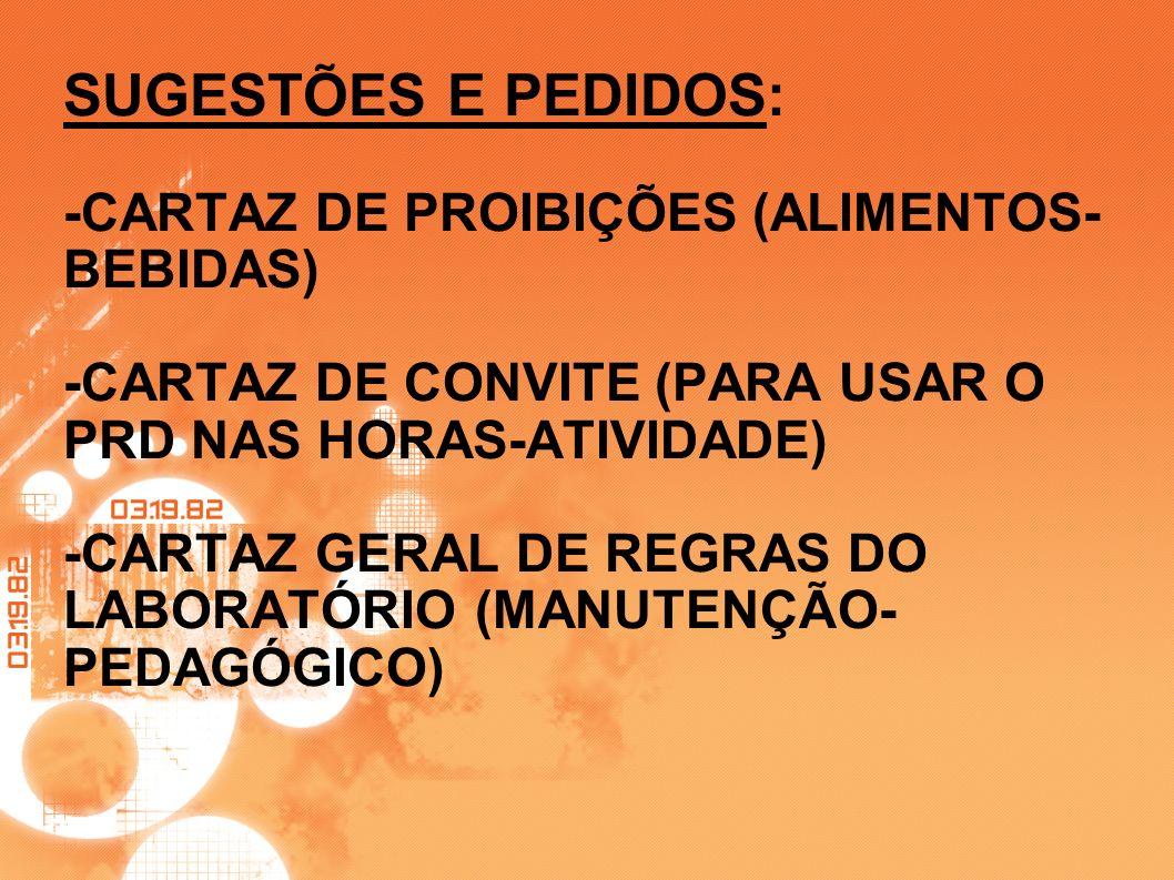 SUGESTÕES E PEDIDOS: -CARTAZ DE PROIBIÇÕES (ALIMENTOS- BEBIDAS) -CARTAZ DE CONVITE (PARA USAR O PRD NAS HORAS-ATIVIDADE) -CARTAZ GERAL DE REGRAS DO LA