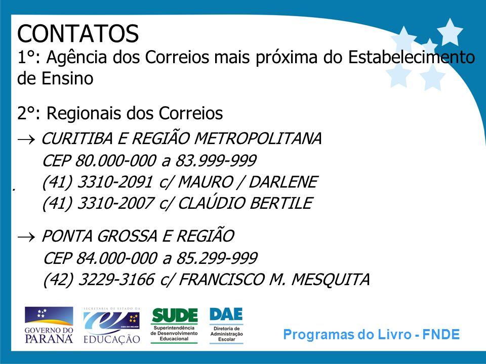 CASCAVEL E REGIÃO CEP 85.300-000 a 85.999-999 (45) 3222-0798 c/ ELCI RUBERT LONDRINA E REGIÃO CEP 86.000-000 a 86.999-999 (43) 3377-3558 c/ NIVALDO MARANDOLA MARINGÁ E REGIÃO CEP 87.000-000 a 87.999-999 (44) 3221-1717 c/ GUSTAVO GOMES DE ASSIS 3°: Central dos Correios - Curitiba (41) 3310-2091 / (41) 3310-2007 c/ MAURO / DARLENE / CLAÚDIO Programas do Livro - FNDE