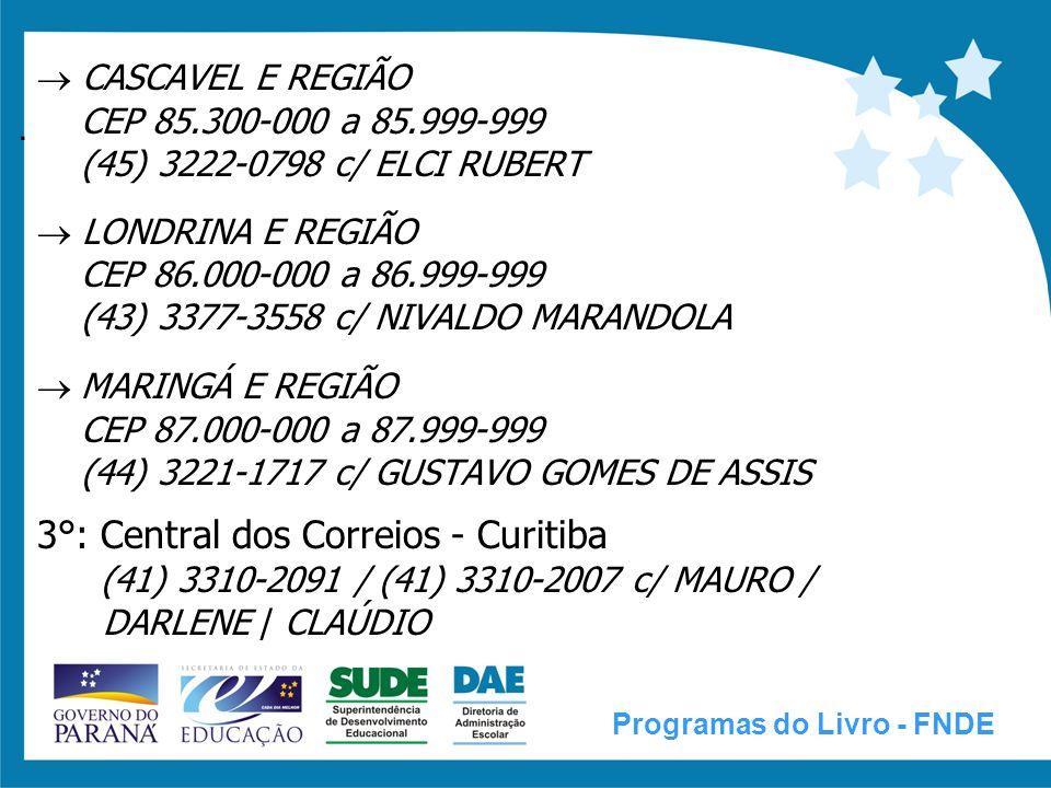 SISTEMA DE CONTROLE DE REMANEJAMENTO E RESERVA TÉCNICA (SISCORT) Programas do Livro - FNDE