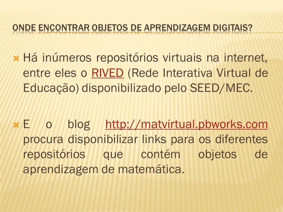 Há inúmeros repositórios virtuais na internet, entre eles o RIVED (Rede Interativa Virtual de Educação) disponibilizado pelo SEED/MEC.RIVED E o blog http://matvirtual.pbworks.com procura disponibilizar links para os diferentes repositórios que contém objetos de aprendizagem de matemática.http://matvirtual.pbworks.com