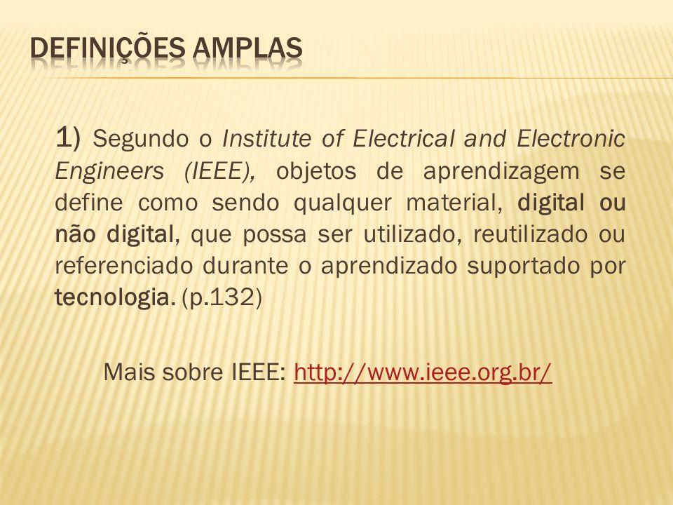 1) Segundo o Institute of Electrical and Electronic Engineers (IEEE), objetos de aprendizagem se define como sendo qualquer material, digital ou não digital, que possa ser utilizado, reutilizado ou referenciado durante o aprendizado suportado por tecnologia.
