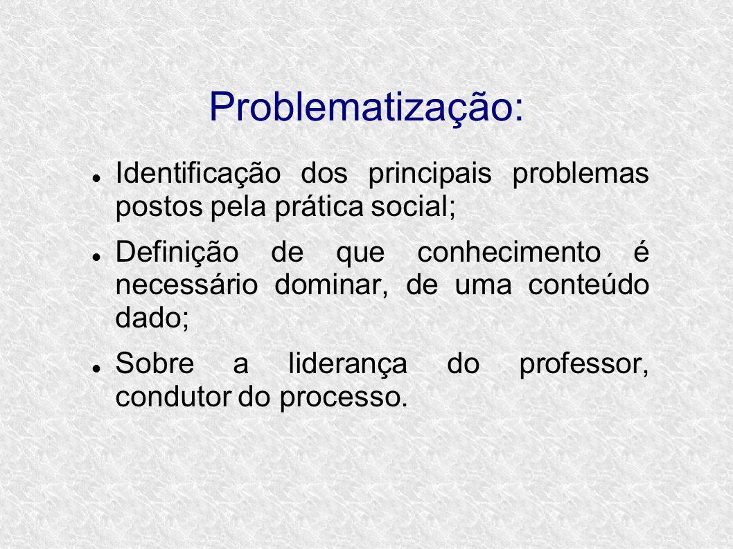 Problematização: Identificação dos principais problemas postos pela prática social; Definição de que conhecimento é necessário dominar, de uma conteúdo dado; Sobre a liderança do professor, condutor do processo.