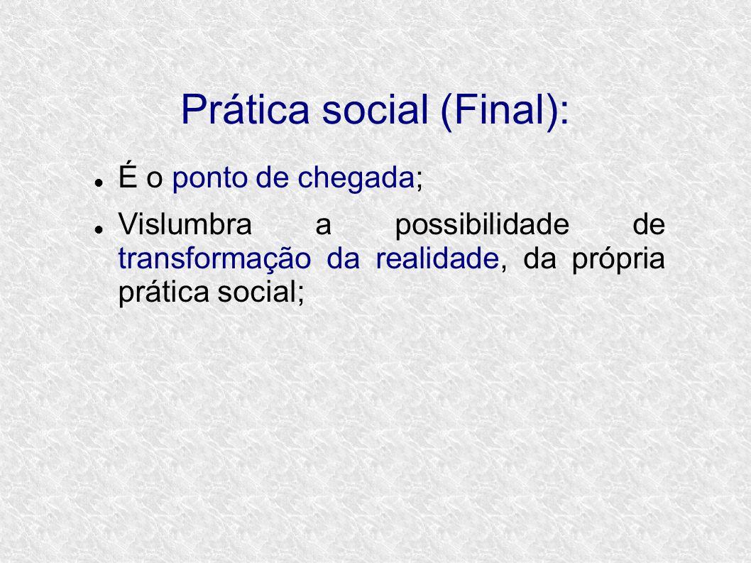 Prática social (Final): É o ponto de chegada; Vislumbra a possibilidade de transformação da realidade, da própria prática social;