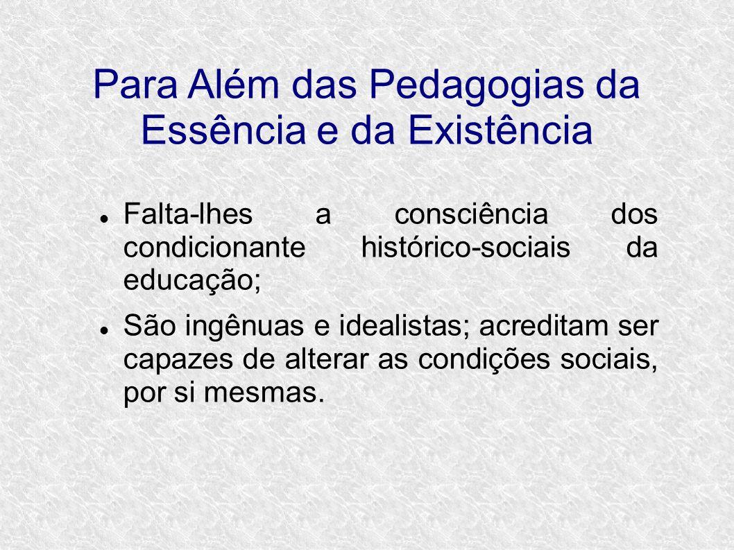 Para Além das Pedagogias da Essência e da Existência Falta-lhes a consciência dos condicionante histórico-sociais da educação; São ingênuas e idealistas; acreditam ser capazes de alterar as condições sociais, por si mesmas.