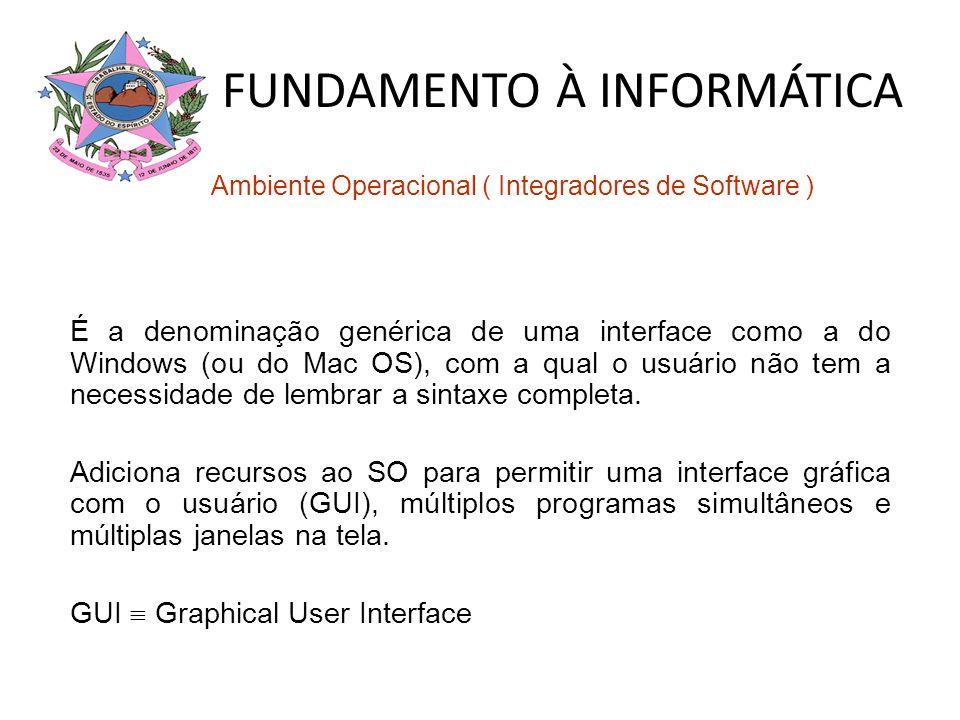 FUNDAMENTO À INFORMÁTICA Ambiente Operacional ( Integradores de Software ) É a denominação genérica de uma interface como a do Windows (ou do Mac OS),