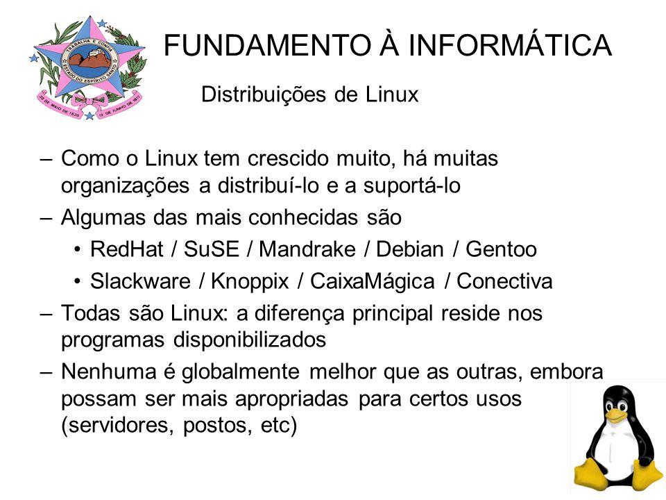 Distribuições de Linux –Como o Linux tem crescido muito, há muitas organizações a distribuí-lo e a suportá-lo –Algumas das mais conhecidas são RedHat / SuSE / Mandrake / Debian / Gentoo Slackware / Knoppix / CaixaMágica / Conectiva –Todas são Linux: a diferença principal reside nos programas disponibilizados –Nenhuma é globalmente melhor que as outras, embora possam ser mais apropriadas para certos usos (servidores, postos, etc) FUNDAMENTO À INFORMÁTICA