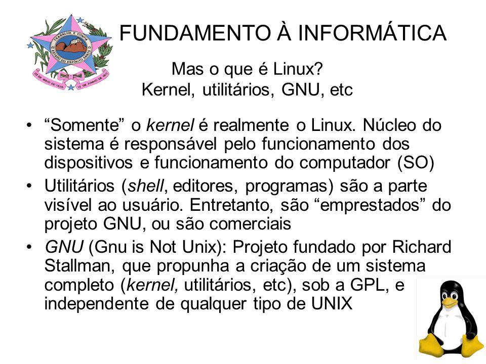 Mas o que é Linux.Kernel, utilitários, GNU, etc Somente o kernel é realmente o Linux.