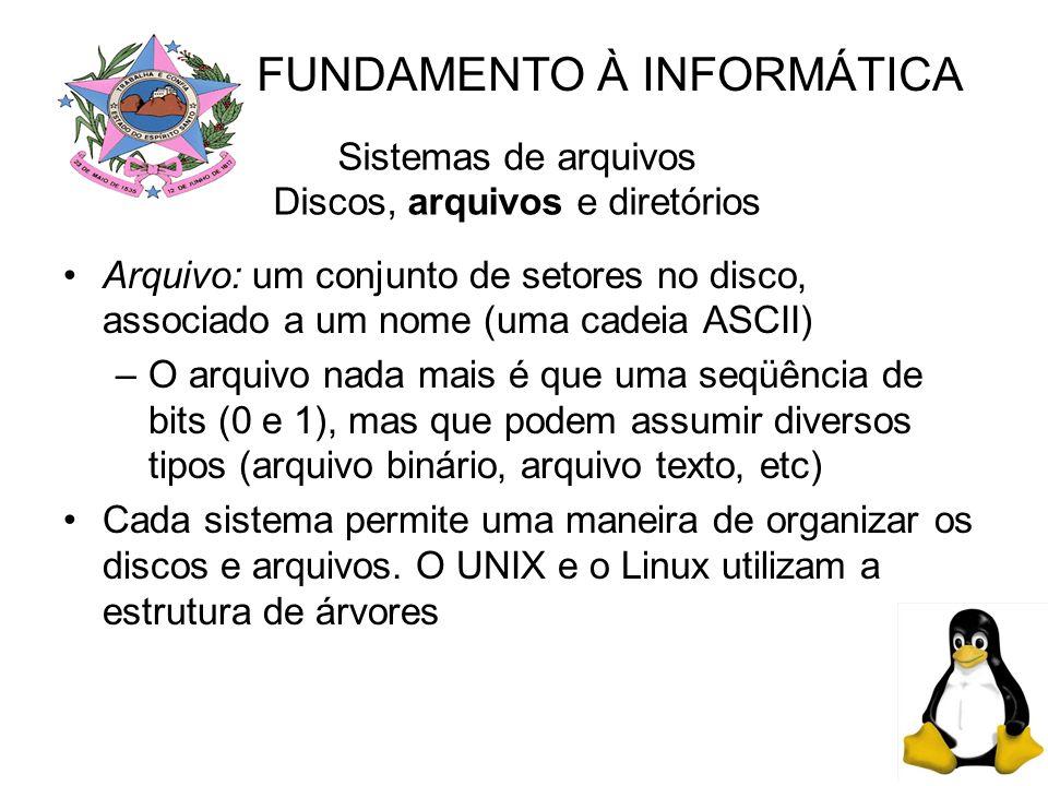 Sistemas de arquivos Discos, arquivos e diretórios Arquivo: um conjunto de setores no disco, associado a um nome (uma cadeia ASCII) –O arquivo nada mais é que uma seqüência de bits (0 e 1), mas que podem assumir diversos tipos (arquivo binário, arquivo texto, etc) Cada sistema permite uma maneira de organizar os discos e arquivos.