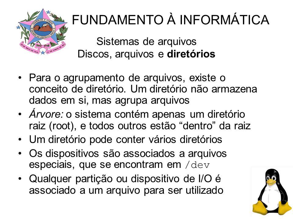 Sistemas de arquivos Discos, arquivos e diretórios Para o agrupamento de arquivos, existe o conceito de diretório.