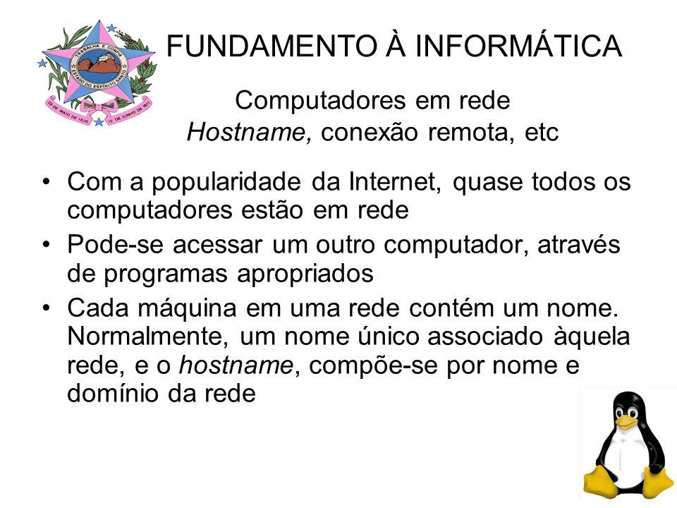 Computadores em rede Hostname, conexão remota, etc Com a popularidade da Internet, quase todos os computadores estão em rede Pode-se acessar um outro computador, através de programas apropriados Cada máquina em uma rede contém um nome.