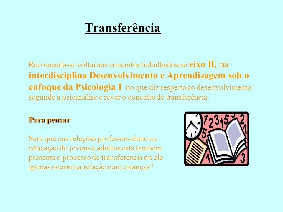 Transferência Recomenda-se voltar aos conceitos trabalhados no eixo II, na interdisciplina Desenvolvimento e Aprendizagem sob o enfoque da Psicologia
