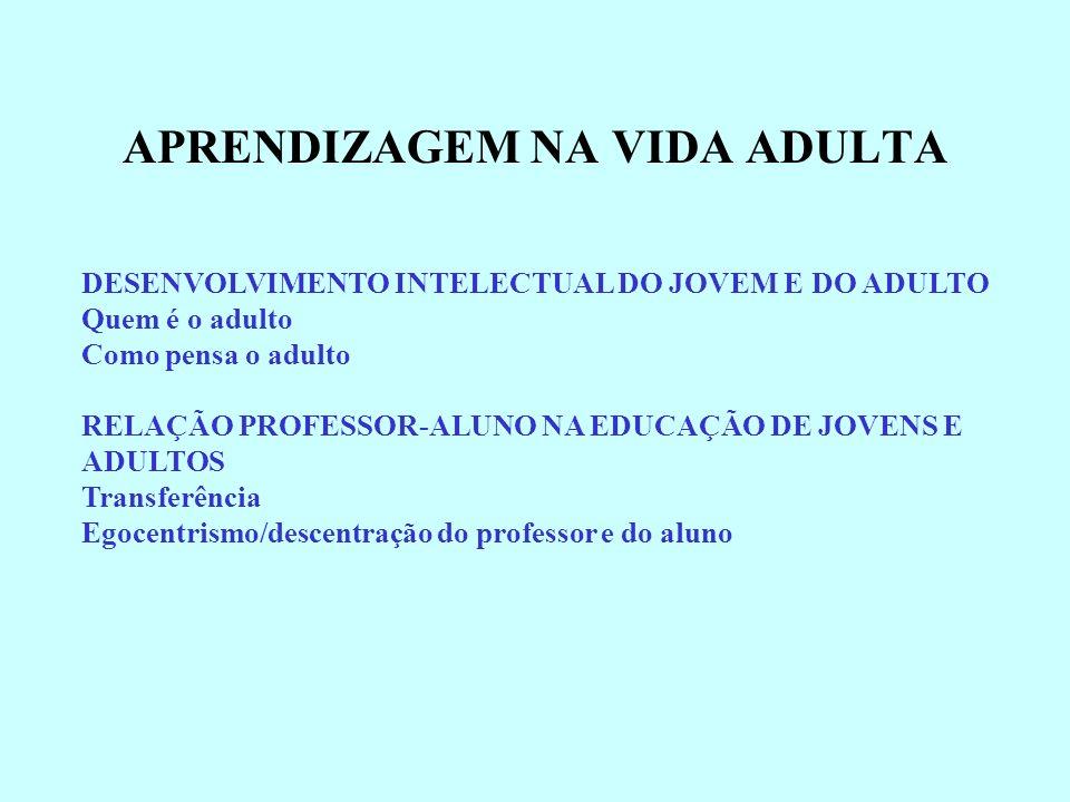 APRENDIZAGEM NA VIDA ADULTA DESENVOLVIMENTO INTELECTUAL DO JOVEM E DO ADULTO Quem é o adulto Como pensa o adulto RELAÇÃO PROFESSOR-ALUNO NA EDUCAÇÃO D