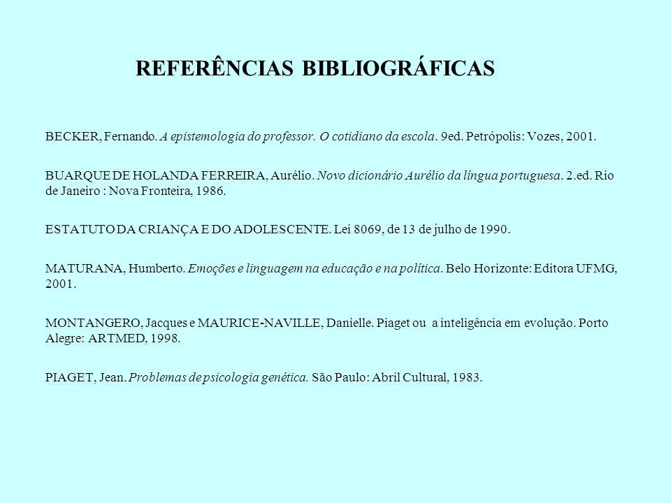 BECKER, Fernando. A epistemologia do professor. O cotidiano da escola. 9ed. Petrópolis: Vozes, 2001. BUARQUE DE HOLANDA FERREIRA, Aurélio. Novo dicion