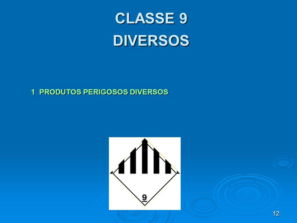 12 CLASSE 9 DIVERSOS 1 PRODUTOS PERIGOSOS DIVERSOS