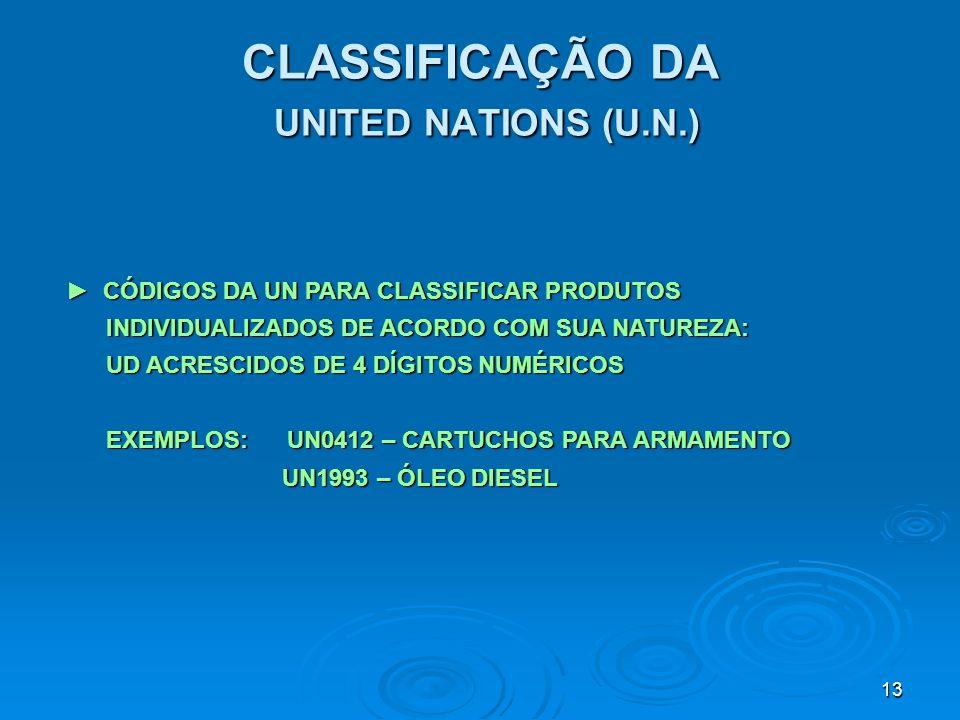 13 CLASSIFICAÇÃO DA UNITED NATIONS (U.N.) CÓDIGOS DA UN PARA CLASSIFICAR PRODUTOS CÓDIGOS DA UN PARA CLASSIFICAR PRODUTOS INDIVIDUALIZADOS DE ACORDO C