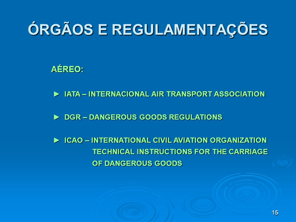 15 ÓRGÃOS E REGULAMENTAÇÕES AÉREO: AÉREO: IATA – INTERNACIONAL AIR TRANSPORT ASSOCIATION IATA – INTERNACIONAL AIR TRANSPORT ASSOCIATION DGR – DANGEROU