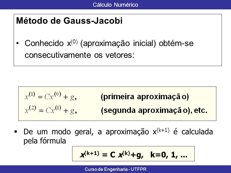 Cálculo Numérico Curso de Engenharia - UTFPR Exemplo: O sistema do exemplo anterior satisfaz o critério das linhas e essa verificação pode ser feita de maneira quase imediata, observando-se que: para i=1, 2, 3, 4.