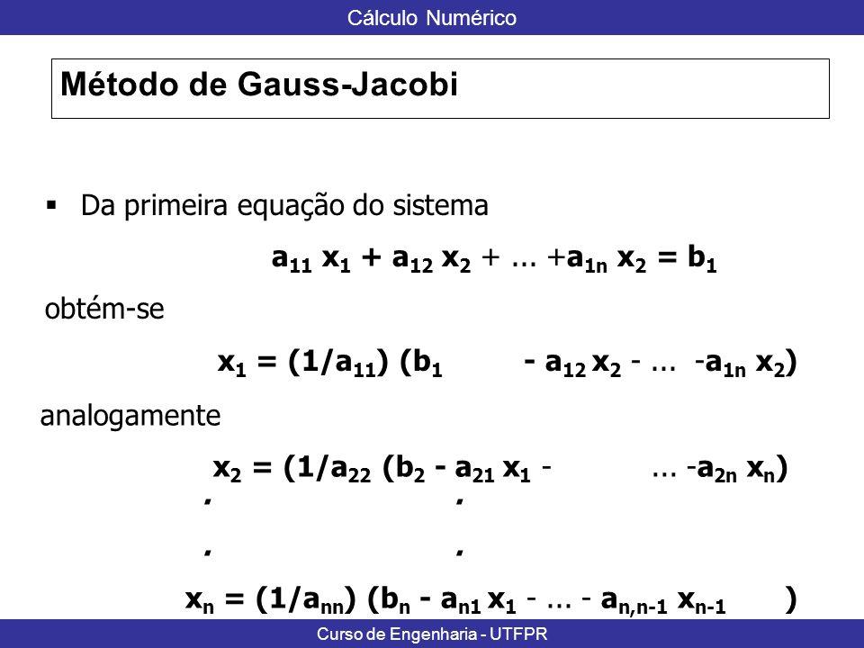 Cálculo Numérico Curso de Engenharia - UTFPR Método de Gauss-Jacobi Desta forma para x = C x + g 0 - a 12 / a 11...