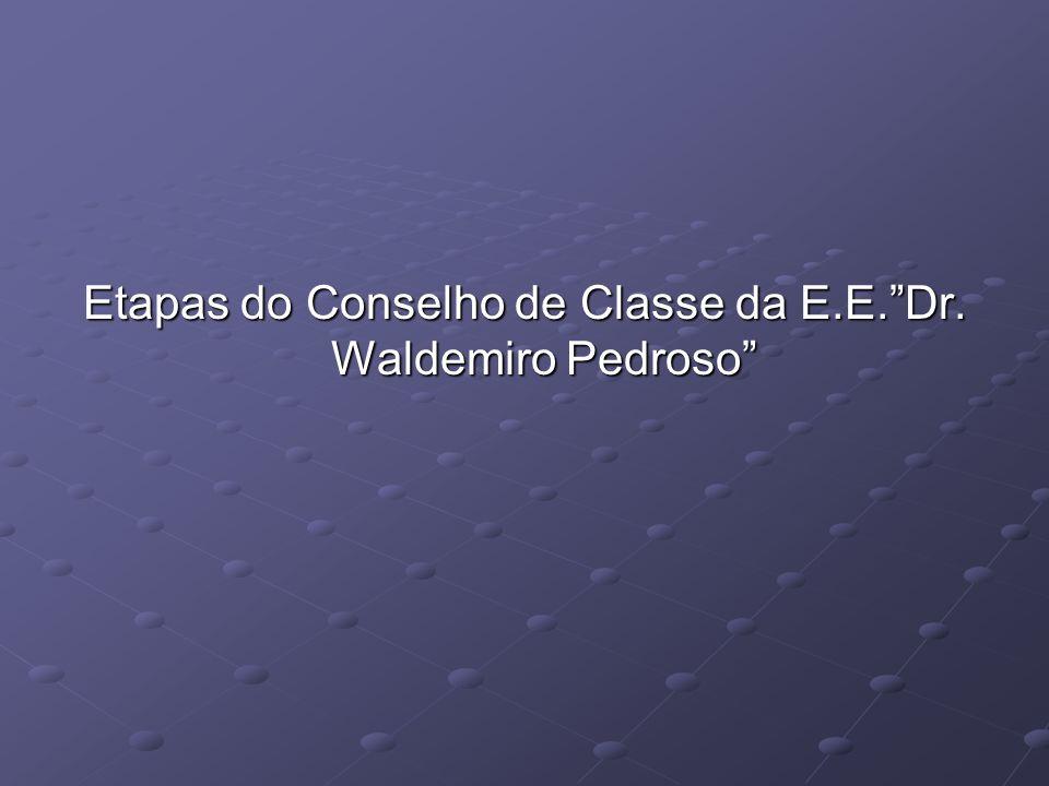 Etapas do Conselho de Classe da E.E.Dr. Waldemiro Pedroso