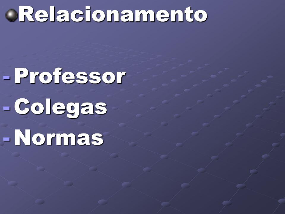 Relacionamento -Professor -Colegas -Normas