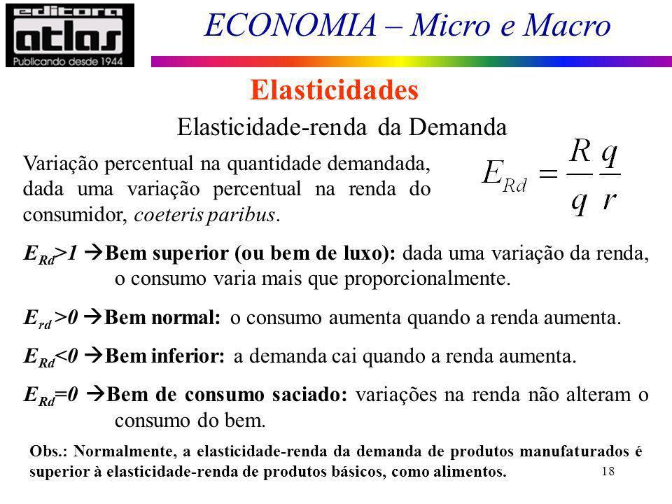 ECONOMIA – Micro e Macro 18 Elasticidades Elasticidade-renda da Demanda Variação percentual na quantidade demandada, dada uma variação percentual na renda do consumidor, coeteris paribus.