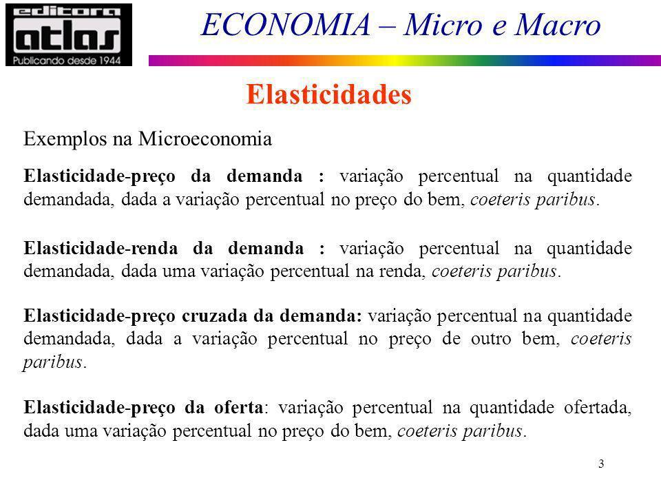 ECONOMIA – Micro e Macro 3 Elasticidades Exemplos na Microeconomia Elasticidade-preço da demanda : variação percentual na quantidade demandada, dada a variação percentual no preço do bem, coeteris paribus.