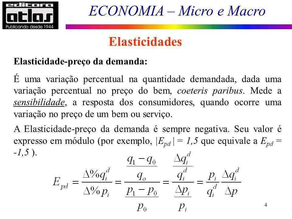 ECONOMIA – Micro e Macro 4 Elasticidades Elasticidade-preço da demanda: É uma variação percentual na quantidade demandada, dada uma variação percentual no preço do bem, coeteris paribus.
