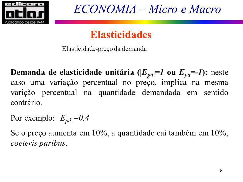 ECONOMIA – Micro e Macro 9 Elasticidades Demanda de elasticidade unitária (|E pd |=1 ou E pd =-1): neste caso uma variação percentual no preço, implica na mesma varição percentual na quantidade demandada em sentido contrário.