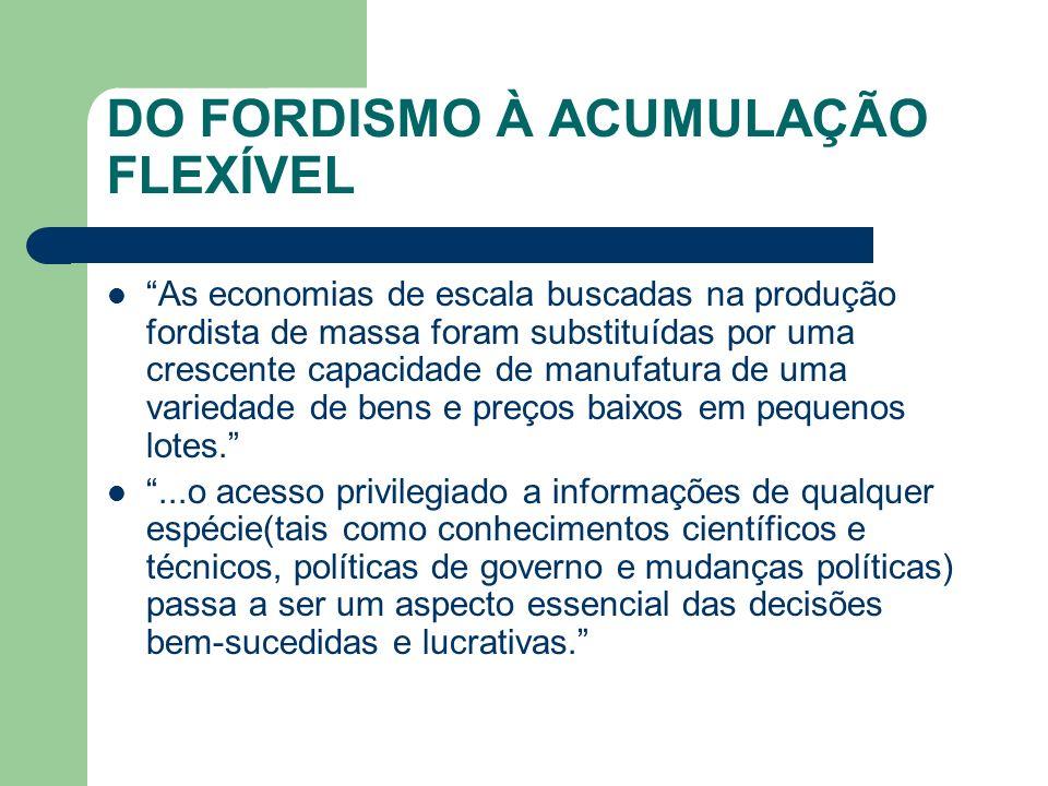 DO FORDISMO À ACUMULAÇÃO FLEXÍVEL As economias de escala buscadas na produção fordista de massa foram substituídas por uma crescente capacidade de man