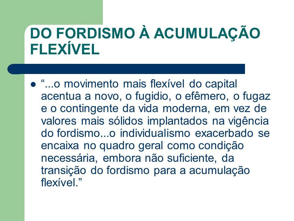 DO FORDISMO À ACUMULAÇÃO FLEXÍVEL...o movimento mais flexível do capital acentua a novo, o fugidio, o efêmero, o fugaz e o contingente da vida moderna