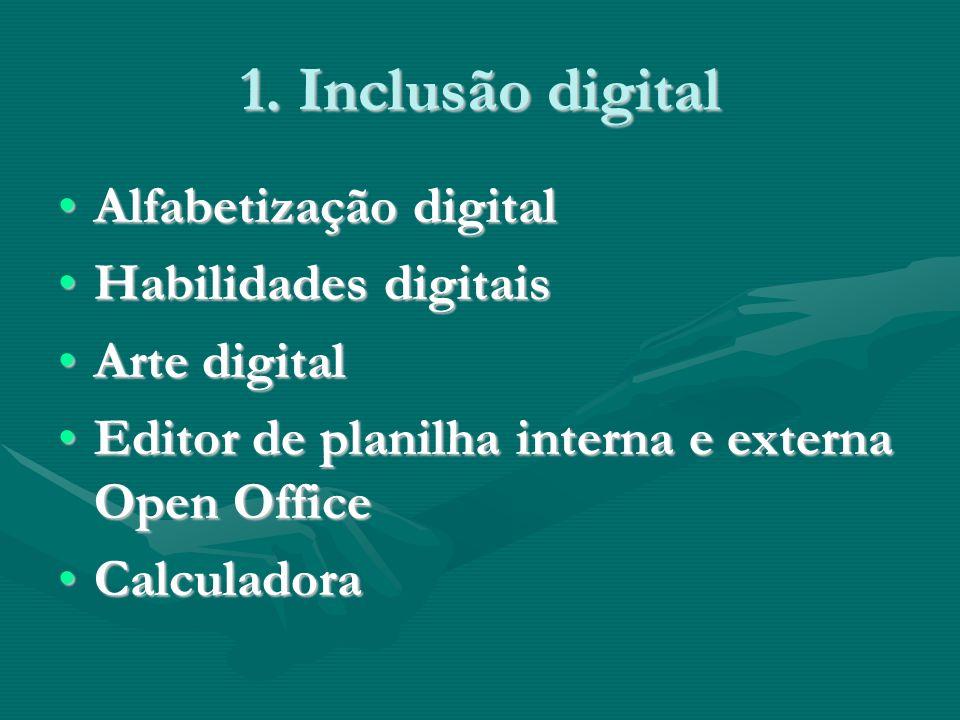 1. Inclusão digital Alfabetização digitalAlfabetização digital Habilidades digitaisHabilidades digitais Arte digitalArte digital Editor de planilha in