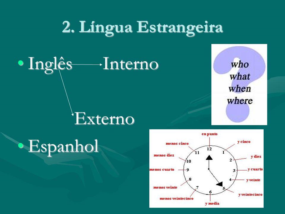 2. Língua Estrangeira InglêsInternoInglêsInternoExterno EspanholEspanhol