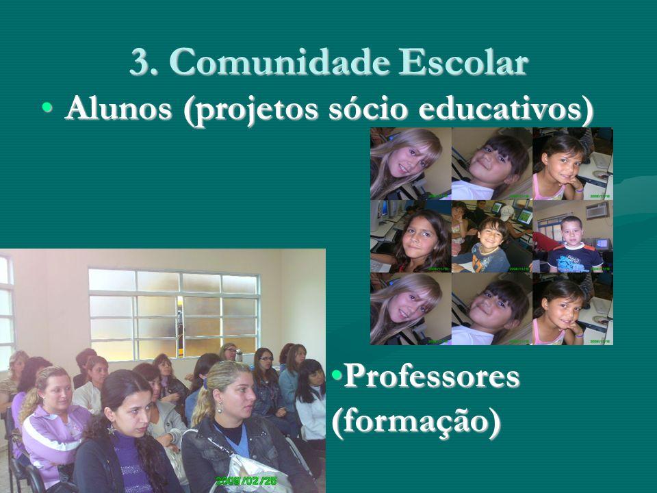 3. Comunidade Escolar Alunos (projetos sócio educativos)Alunos (projetos sócio educativos) Professores (formação)Professores (formação)