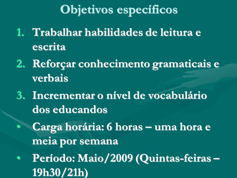 Objetivos específicos 1.Trabalhar habilidades de leitura e escrita 2.Reforçar conhecimento gramaticais e verbais 3.Incrementar o nível de vocabulário dos educandos Carga horária: 6 horas – uma hora e meia por semanaCarga horária: 6 horas – uma hora e meia por semana Período: Maio/2009 (Quintas-feiras – 19h30/21h)Período: Maio/2009 (Quintas-feiras – 19h30/21h)