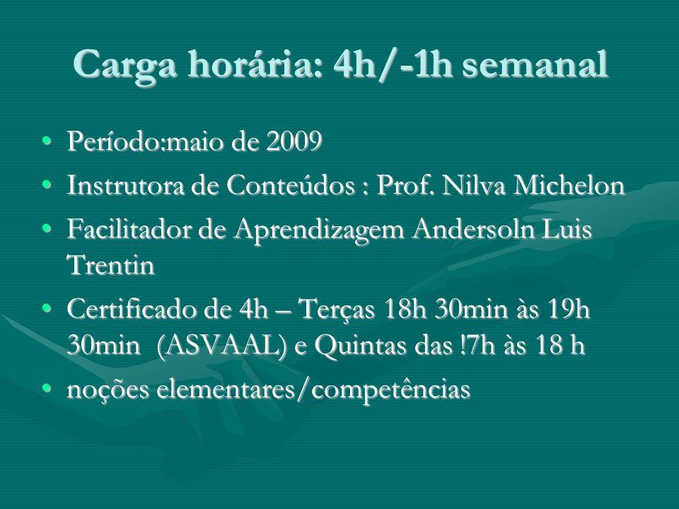 Carga horária: 4h/-1h semanal Período:maio de 2009Período:maio de 2009 Instrutora de Conteúdos : Prof.