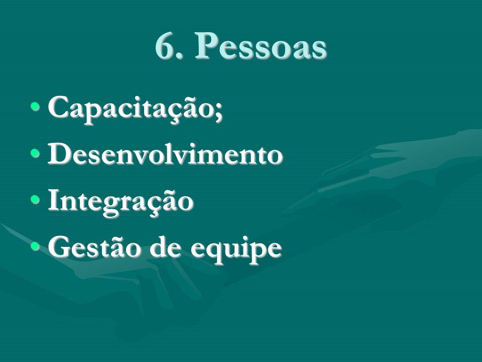 6. Pessoas Capacitação;Capacitação; DesenvolvimentoDesenvolvimento IntegraçãoIntegração Gestão de equipeGestão de equipe