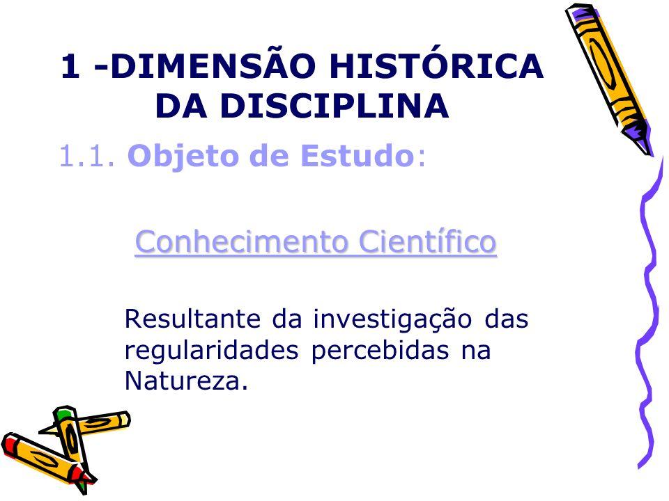 1 -DIMENSÃO HISTÓRICA DA DISCIPLINA 1.1. Objeto de Estudo: Conhecimento Científico Resultante da investigação das regularidades percebidas na Natureza