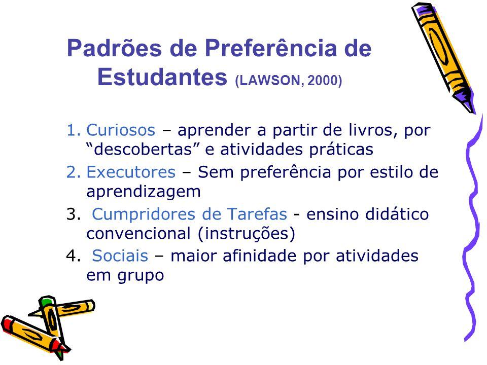 Padrões de Preferência de Estudantes (LAWSON, 2000) 1.Curiosos – aprender a partir de livros, por descobertas e atividades práticas 2.Executores – Sem