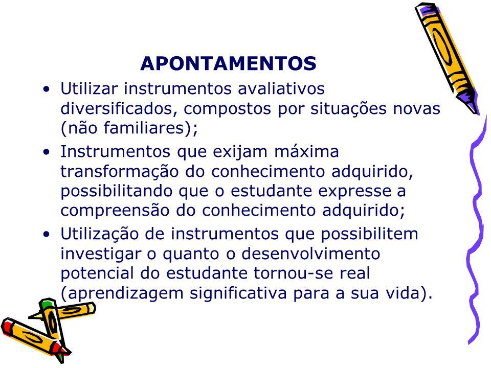APONTAMENTOS Utilizar instrumentos avaliativos diversificados, compostos por situações novas (não familiares); Instrumentos que exijam máxima transfor