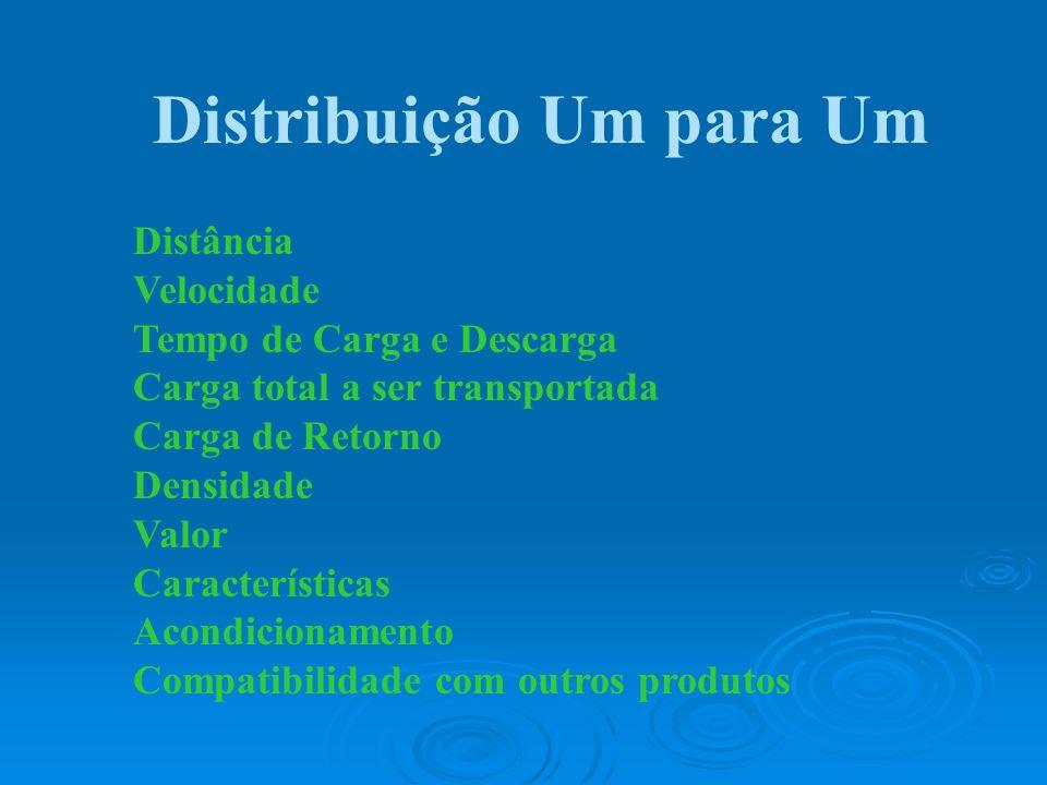 Distribuição Um para Um Distância Velocidade Tempo de Carga e Descarga Carga total a ser transportada Carga de Retorno Densidade Valor Características