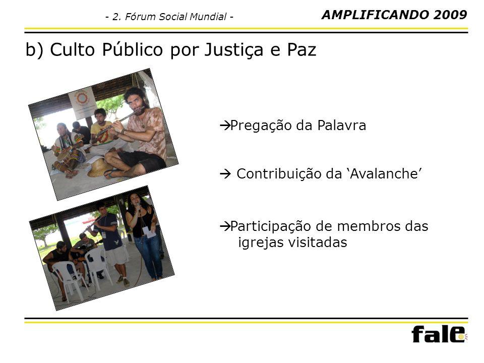 b) Culto Público por Justiça e Paz Pregação da Palavra Contribuição da Avalanche Participação de membros das igrejas visitadas AMPLIFICANDO 2009 - 2.