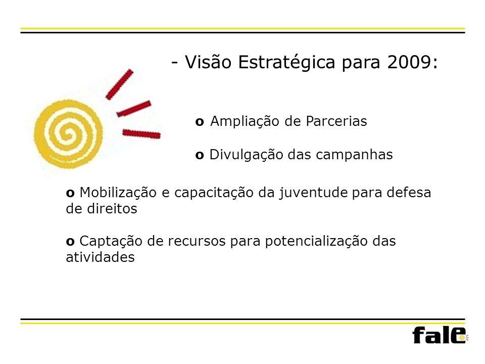 - Visão Estratégica para 2009: o Mobilização e capacitação da juventude para defesa de direitos o Captação de recursos para potencialização das atividades o Ampliação de Parcerias o Divulgação das campanhas