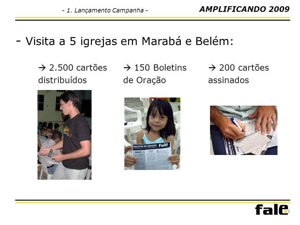 - Visita a 5 igrejas em Marabá e Belém: 2.500 cartões distribuídos 150 Boletins de Oração 200 cartões assinados AMPLIFICANDO 2009 - 1. Lançamento Camp